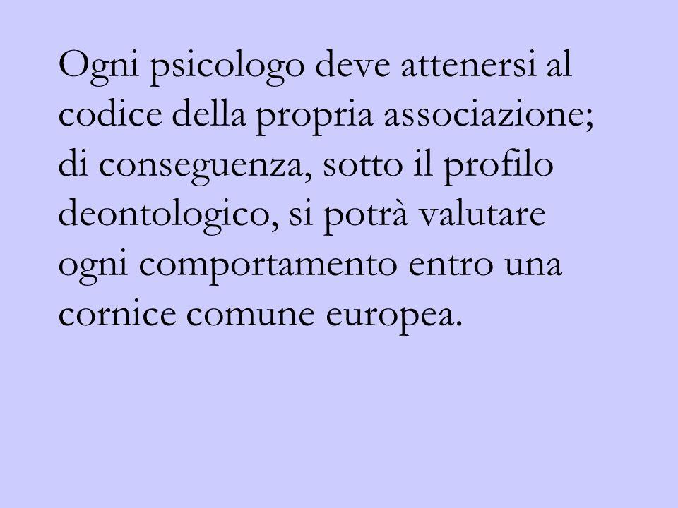 Ogni psicologo deve attenersi al codice della propria associazione; di conseguenza, sotto il profilo deontologico, si potrà valutare ogni comportamento entro una cornice comune europea.