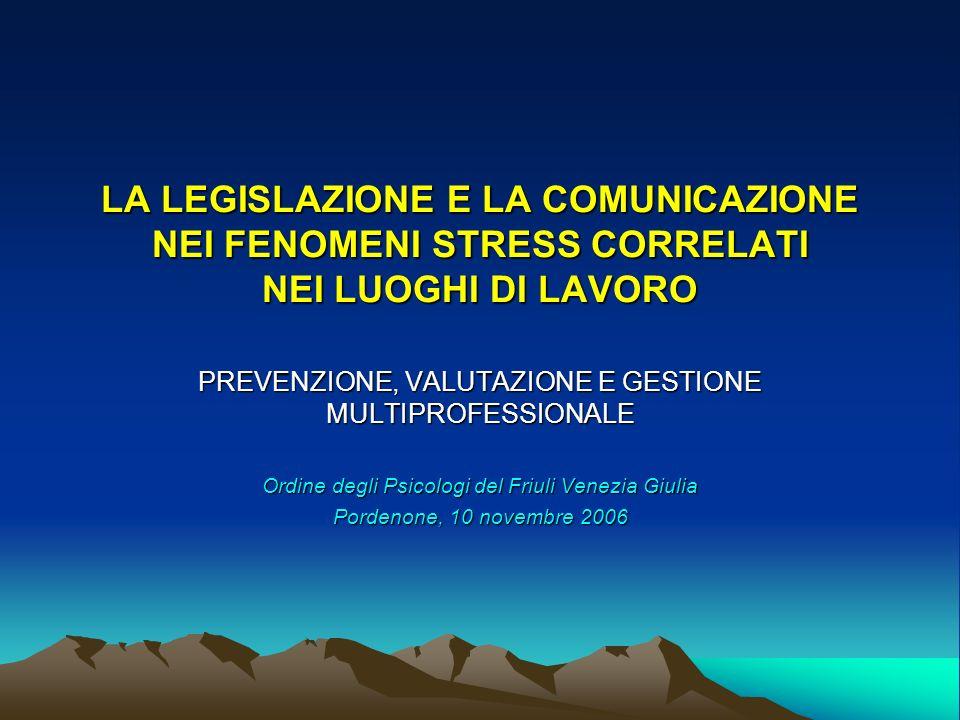 LA LEGISLAZIONE E LA COMUNICAZIONE NEI FENOMENI STRESS CORRELATI NEI LUOGHI DI LAVORO PREVENZIONE, VALUTAZIONE E GESTIONE MULTIPROFESSIONALE Ordine degli Psicologi del Friuli Venezia Giulia Pordenone, 10 novembre 2006