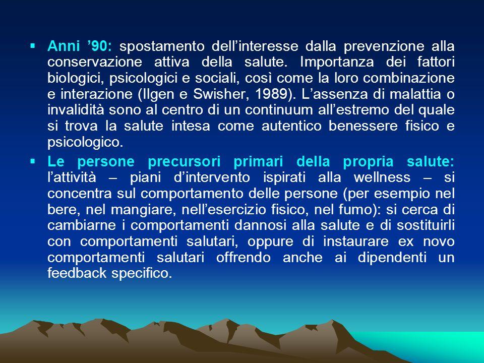 Anni 90: spostamento dellinteresse dalla prevenzione alla conservazione attiva della salute.
