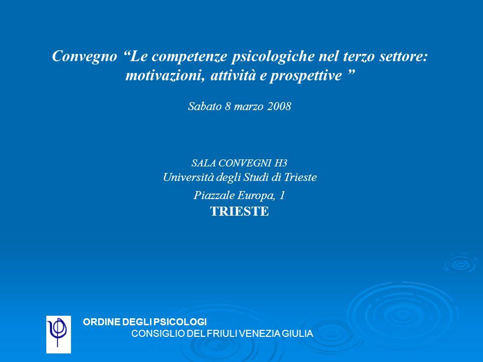 Convegno Le competenze psicologiche nel terzo settore: motivazioni, attività e prospettive Sabato 8 marzo 2008 SALA CONVEGNI H3 Università degli Studi