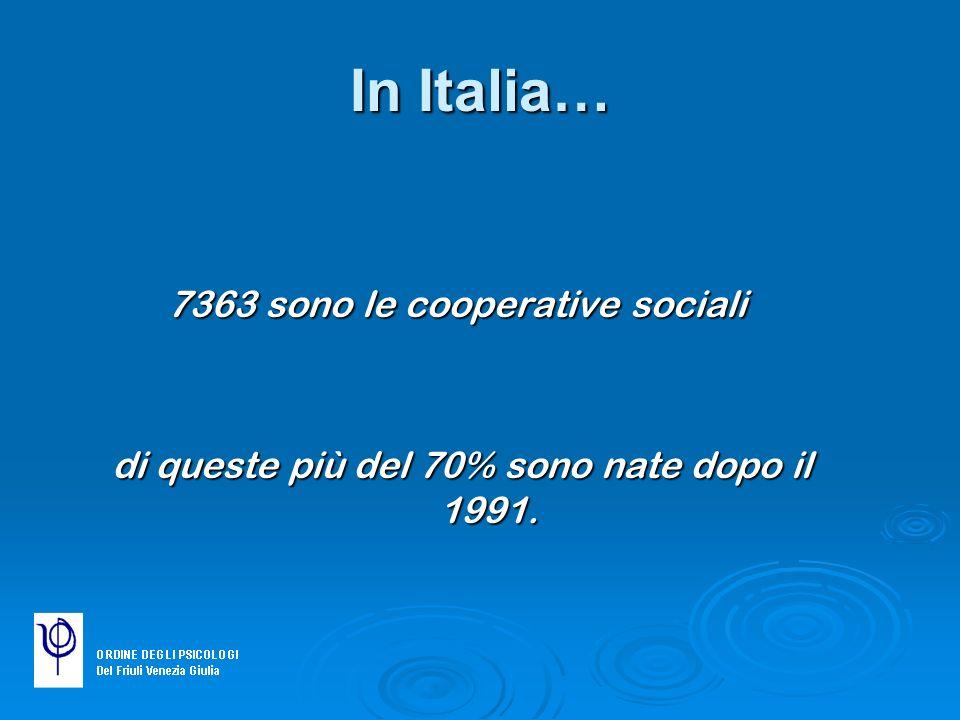 In Italia… 7363 sono le cooperative sociali di queste più del 70% sono nate dopo il 1991. di queste più del 70% sono nate dopo il 1991.