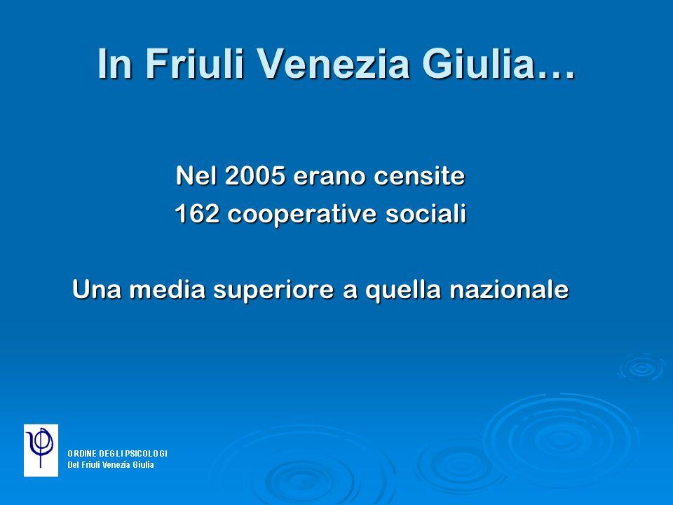 In Friuli Venezia Giulia… Nel 2005 erano censite 162 cooperative sociali Una media superiore a quella nazionale