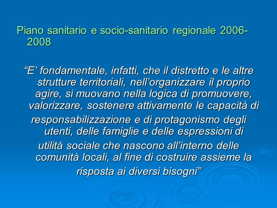 Piano sanitario e socio-sanitario regionale 2006- 2008 E fondamentale, infatti, che il distretto e le altre strutture territoriali, nellorganizzare il