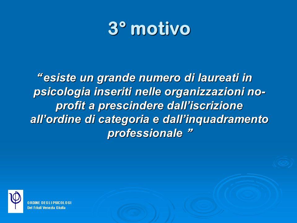 3° motivo esiste un grande numero di laureati in psicologia inseriti nelle organizzazioni no- profit a prescindere dalliscrizione allordine di categor