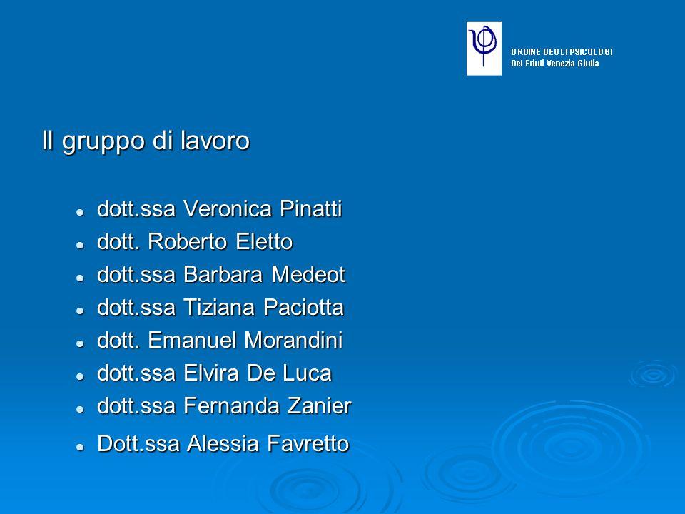 Il gruppo di lavoro dott.ssa Veronica Pinatti dott.ssa Veronica Pinatti dott. Roberto Eletto dott. Roberto Eletto dott.ssa Barbara Medeot dott.ssa Bar