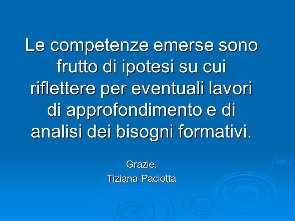 Le competenze emerse sono frutto di ipotesi su cui riflettere per eventuali lavori di approfondimento e di analisi dei bisogni formativi.
