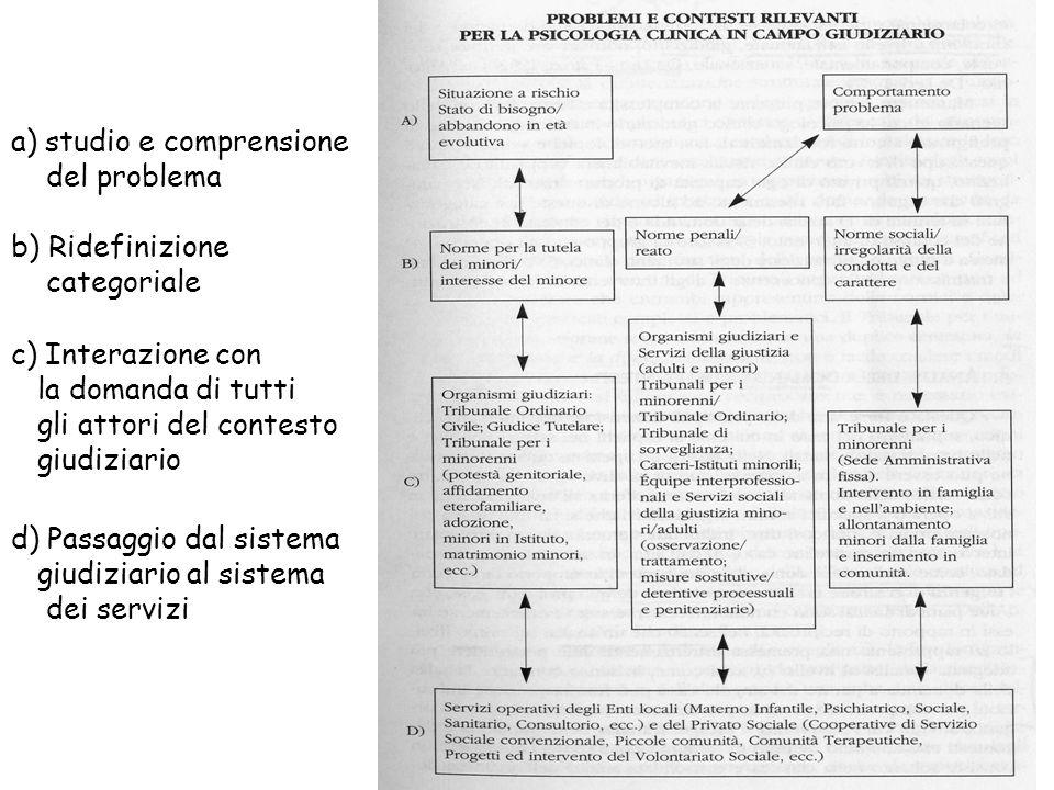 a) studio e comprensione del problema b) Ridefinizione categoriale c) Interazione con la domanda di tutti gli attori del contesto giudiziario d) Passa