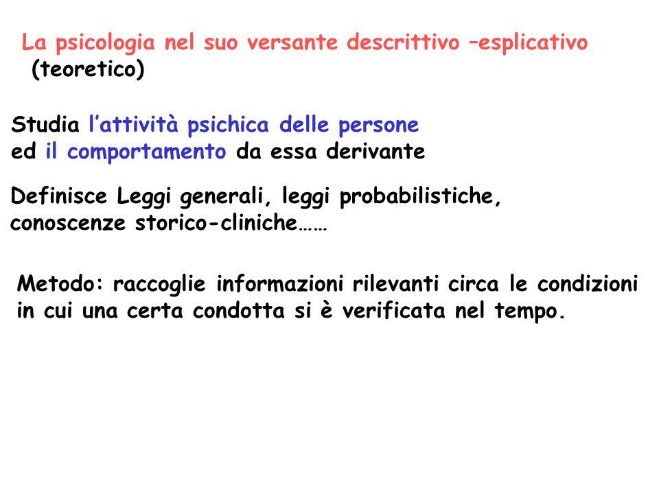 La psicologia nel suo versante descrittivo –esplicativo (teoretico) Studia lattività psichica delle persone ed il comportamento da essa derivante Defi