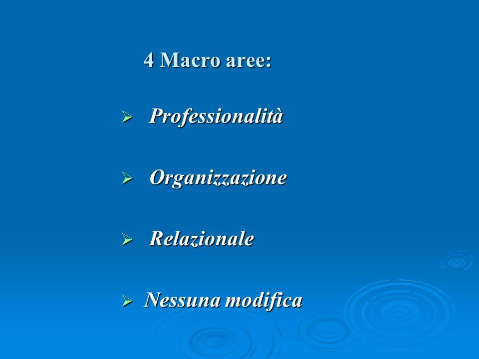 4 Macro aree: Professionalità Professionalità Organizzazione Organizzazione Relazionale Relazionale Nessuna modifica Nessuna modifica