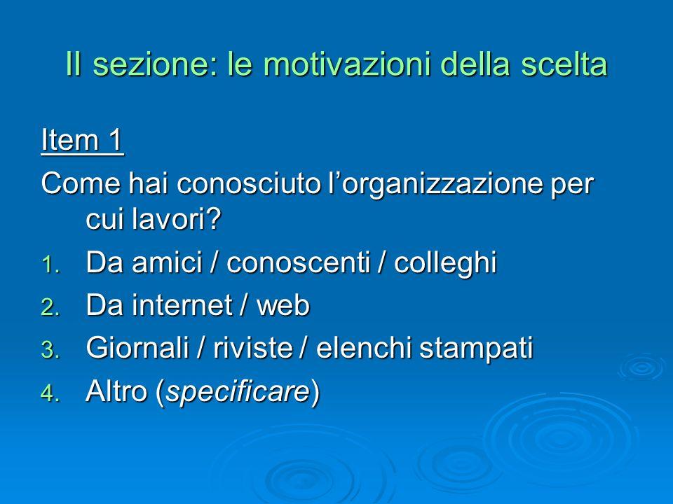 II sezione: le motivazioni della scelta Item 2 Con quale motivazione hai contattato per la prima volta lorganizzazione per cui lavori.