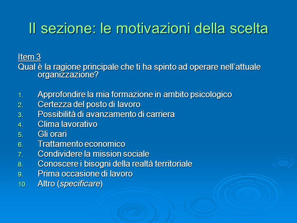 II sezione: le motivazioni della scelta Item 3 Qual è la ragione principale che ti ha spinto ad operare nellattuale organizzazione.