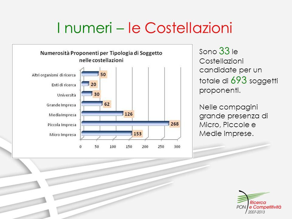 I numeri – le Costellazioni Sono 33 le Costellazioni candidate per un totale di 693 soggetti proponenti. Nelle compagini grande presenza di Micro, Pic