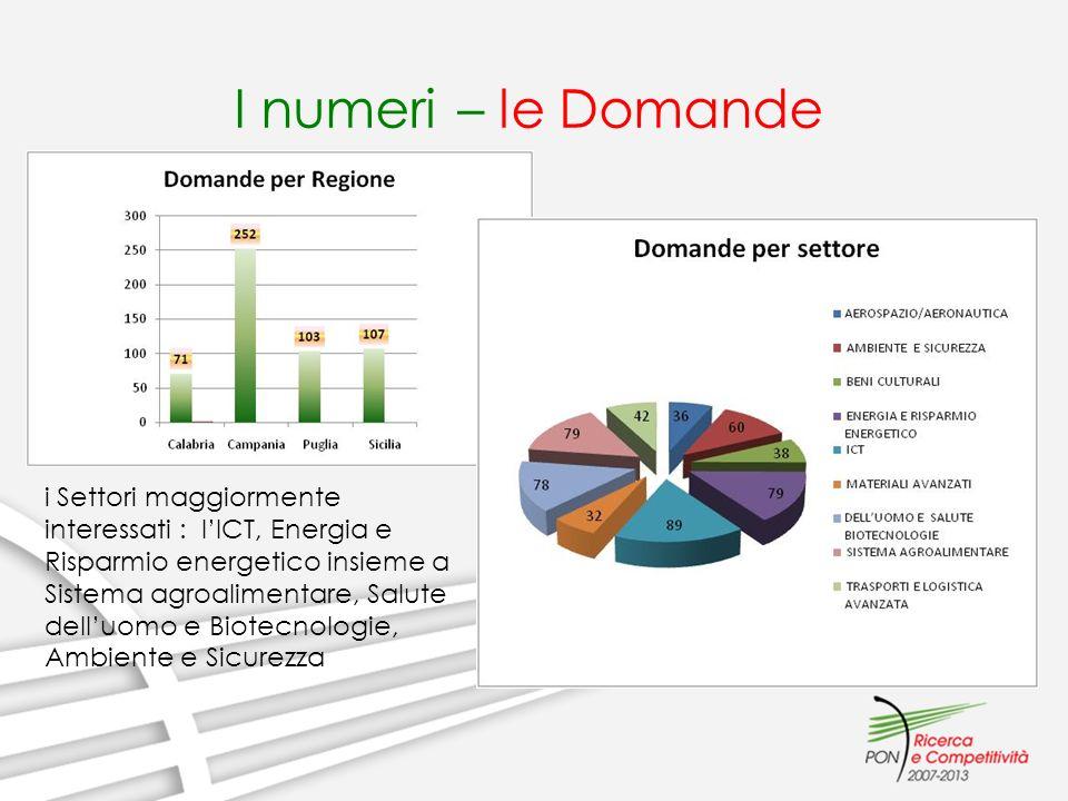 I numeri – le Domande i Settori maggiormente interessati : lICT, Energia e Risparmio energetico insieme a Sistema agroalimentare, Salute delluomo e Biotecnologie, Ambiente e Sicurezza