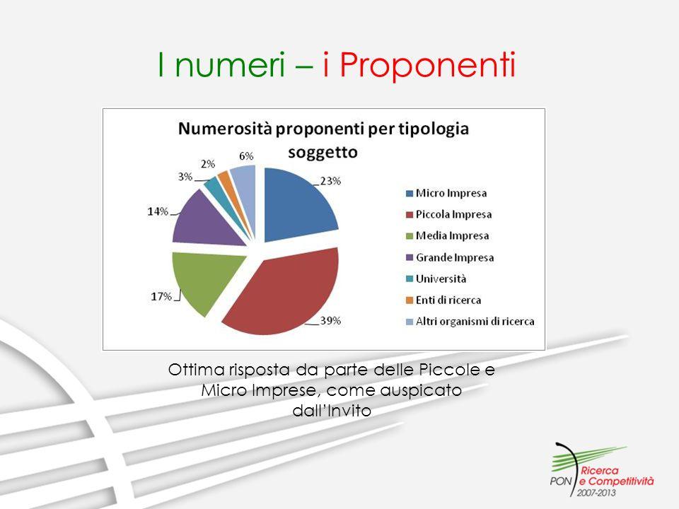 I numeri – i Proponenti Ottima risposta da parte delle Piccole e Micro Imprese, come auspicato dallInvito