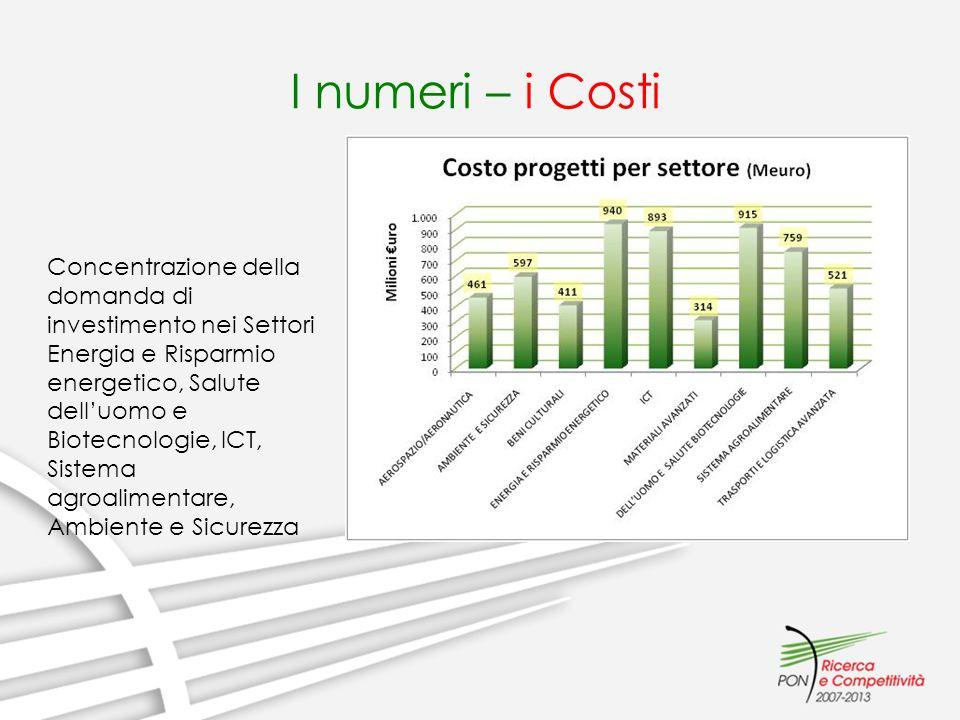I numeri – i Costi Concentrazione della domanda di investimento nei Settori Energia e Risparmio energetico, Salute delluomo e Biotecnologie, ICT, Sist