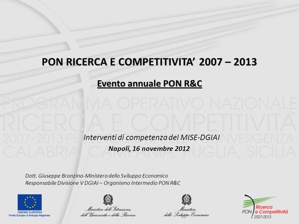 PON RICERCA E COMPETITIVITA 2007 – 2013 Evento annuale PON R&C Napoli, 16 novembre 2012 Interventi di competenza del MISE-DGIAI Dott.