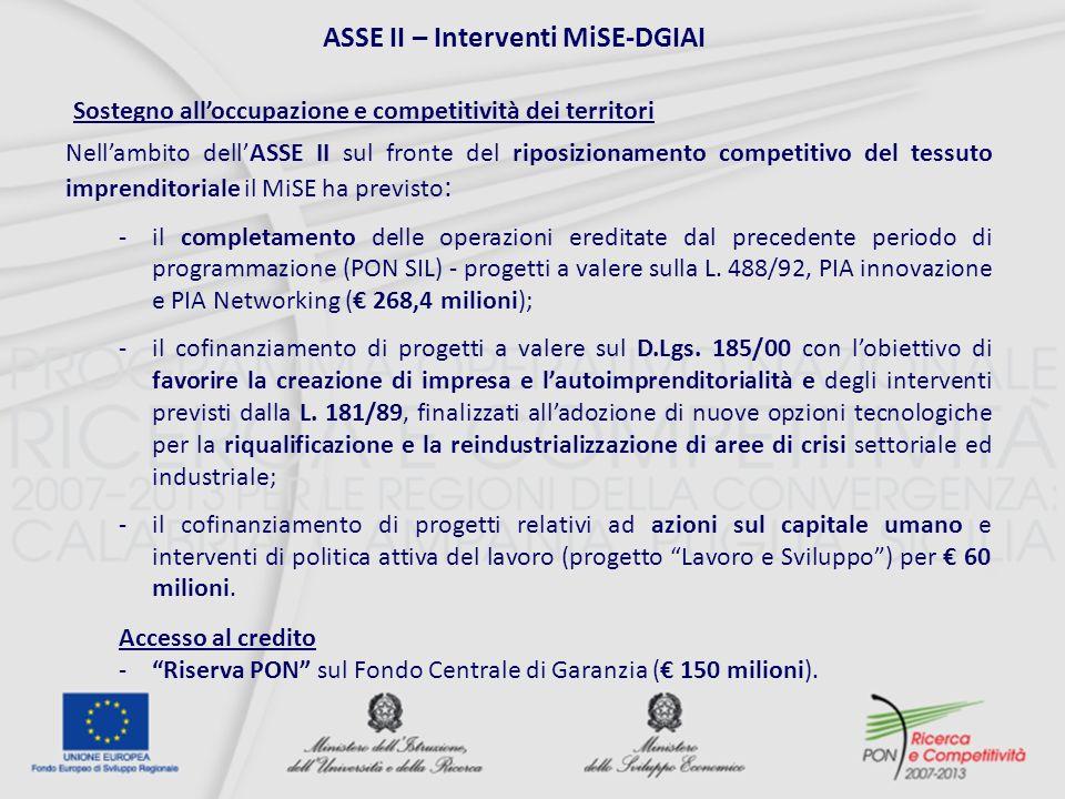 Nellambito dellASSE II sul fronte del riposizionamento competitivo del tessuto imprenditoriale il MiSE ha previsto : -il completamento delle operazioni ereditate dal precedente periodo di programmazione (PON SIL) - progetti a valere sulla L.