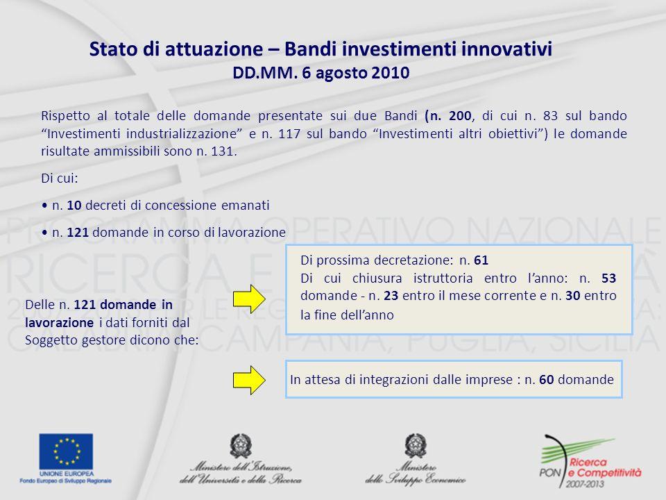 Stato di attuazione – Bandi investimenti innovativi DD.MM.