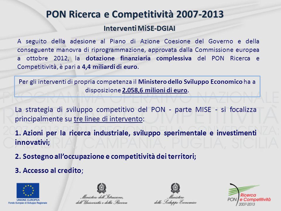 PON Ricerca e Competitività 2007-2013 Interventi MiSE-DGIAI Interventi MiSE-DGIAI A seguito della adesione al Piano di Azione Coesione del Governo e della conseguente manovra di riprogrammazione, approvata dalla Commissione europea a ottobre 2012, la dotazione finanziaria complessiva del PON Ricerca e Competitività, è pari a 4,4 miliardi di euro.