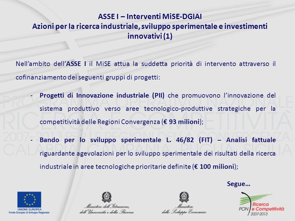 Nellambito dellASSE I il MiSE attua la suddetta priorità di intervento attraverso il cofinanziamento dei seguenti gruppi di progetti: -Progetti di Innovazione industriale (PII) che promuovono linnovazione del sistema produttivo verso aree tecnologico-produttive strategiche per la competitività delle Regioni Convergenza ( 93 milioni); -Bando per lo sviluppo sperimentale L.