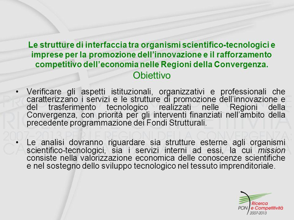 Verificare gli aspetti istituzionali, organizzativi e professionali che caratterizzano i servizi e le strutture di promozione dellinnovazione e del trasferimento tecnologico realizzati nelle Regioni della Convergenza, con priorità per gli interventi finanziati nellambito della precedente programmazione dei Fondi Strutturali.