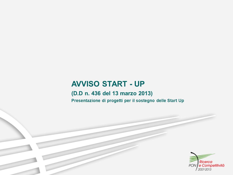 AVVISO START - UP (D.D n. 436 del 13 marzo 2013) Presentazione di progetti per il sostegno delle Start Up