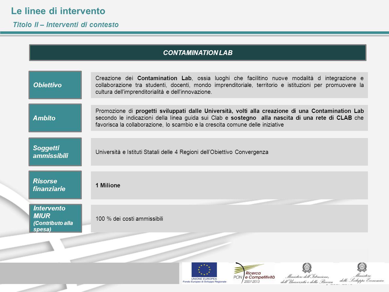Le linee di intervento Titolo II – Interventi di contesto Creazione dei Contamination Lab, ossia luoghi che facilitino nuove modalità d integrazione e