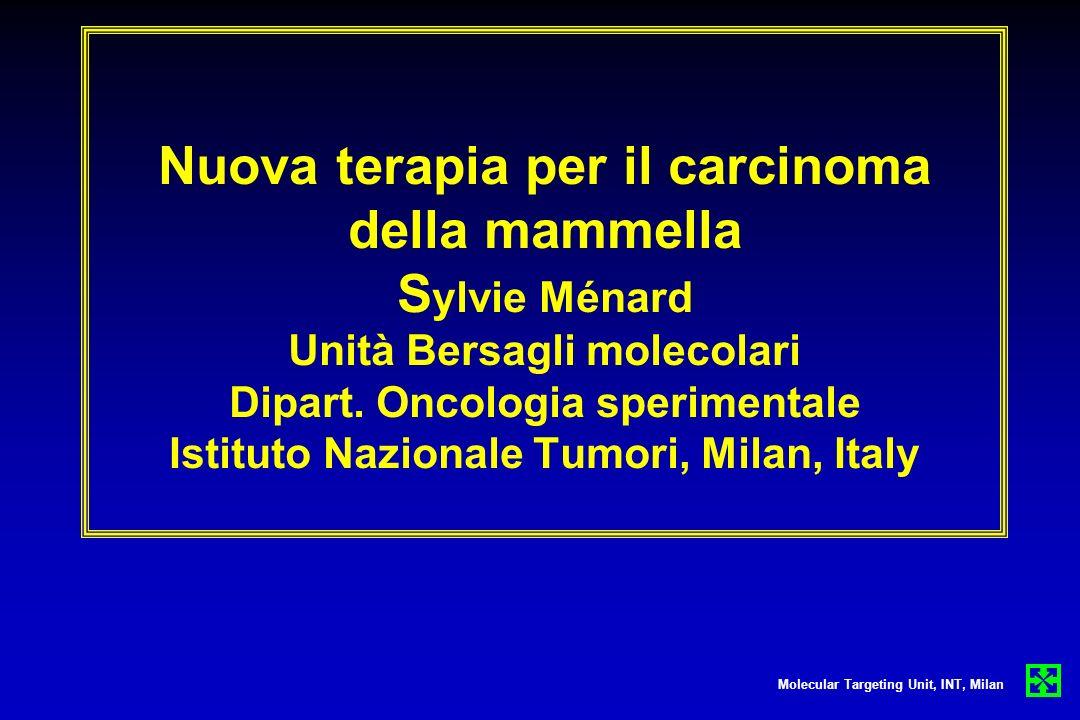 Nuova terapia per il carcinoma della mammella S ylvie Ménard Unità Bersagli molecolari Dipart. Oncologia sperimentale Istituto Nazionale Tumori, Milan