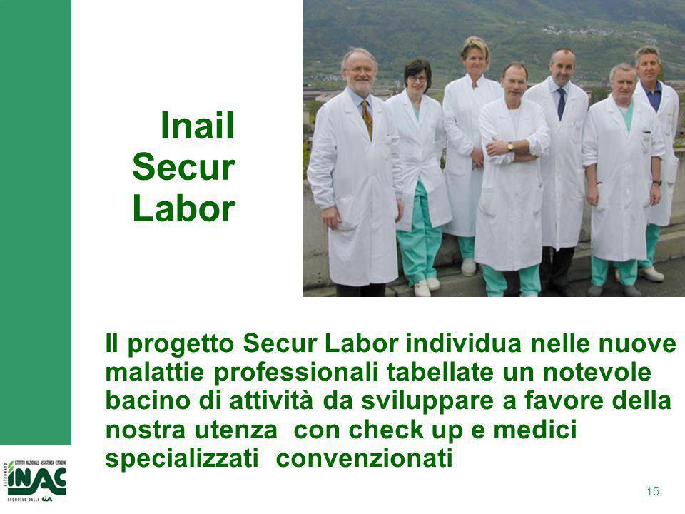 15 Inail Secur Labor Il progetto Secur Labor individua nelle nuove malattie professionali tabellate un notevole bacino di attività da sviluppare a favore della nostra utenza con check up e medici specializzati convenzionati