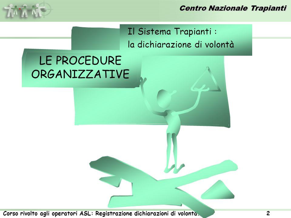 Centro Nazionale Trapianti Corso rivolto agli operatori ASL: Registrazione dichiarazioni di volontà.