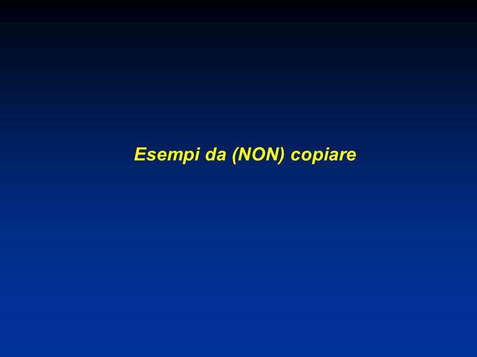 Esempi da (NON) copiare