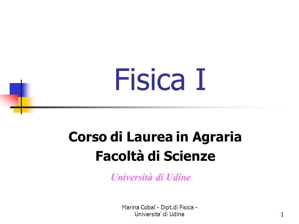 Marina Cobal - Dipt.di Fisica - Universita' di Udine1 Fisica I Corso di Laurea in Agraria Facoltà di Scienze Università di Udine