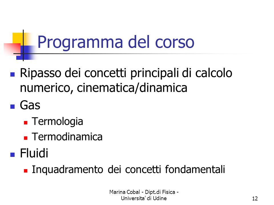 Marina Cobal - Dipt.di Fisica - Universita' di Udine12 Programma del corso Ripasso dei concetti principali di calcolo numerico, cinematica/dinamica Ga