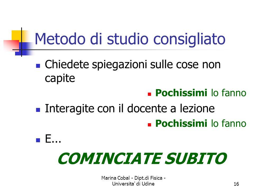 Marina Cobal - Dipt.di Fisica - Universita' di Udine16 Metodo di studio consigliato Chiedete spiegazioni sulle cose non capite Pochissimi lo fanno Int