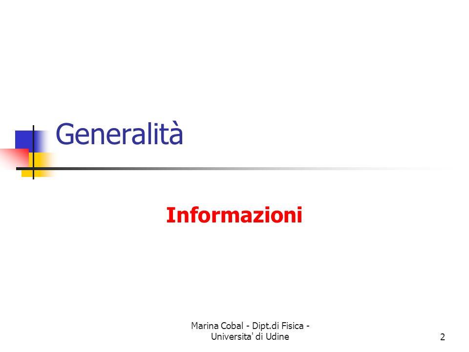 Marina Cobal - Dipt.di Fisica - Universita' di Udine2 Generalità Informazioni