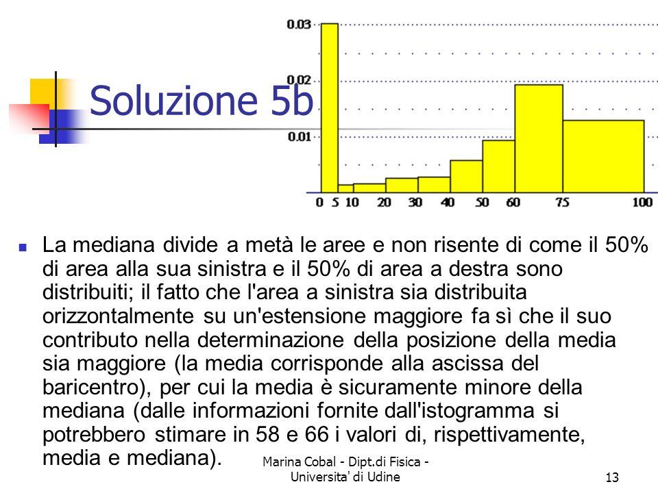 Marina Cobal - Dipt.di Fisica - Universita' di Udine12 Esercizio 5b Quale delle seguenti affermazioni e giusta? (A) età media e età mediana sono quasi