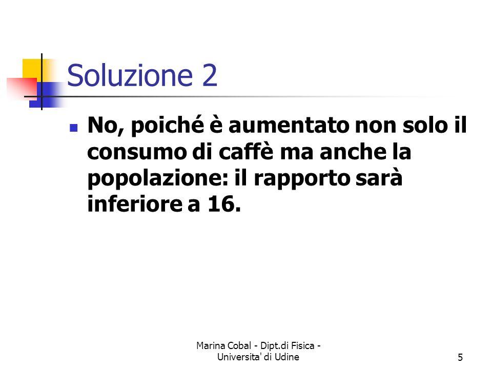Marina Cobal - Dipt.di Fisica - Universita' di Udine4 Esercizio 2 Il consumo totale di caffè in Italia è stato, nel 1881 e nel 1981, rispettivamente d