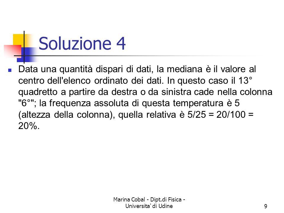 Marina Cobal - Dipt.di Fisica - Universita' di Udine8 Esercizio 4 Alle ore 9 viene rilevata la temperatura esterna. L'istogramma a lato registra i 25