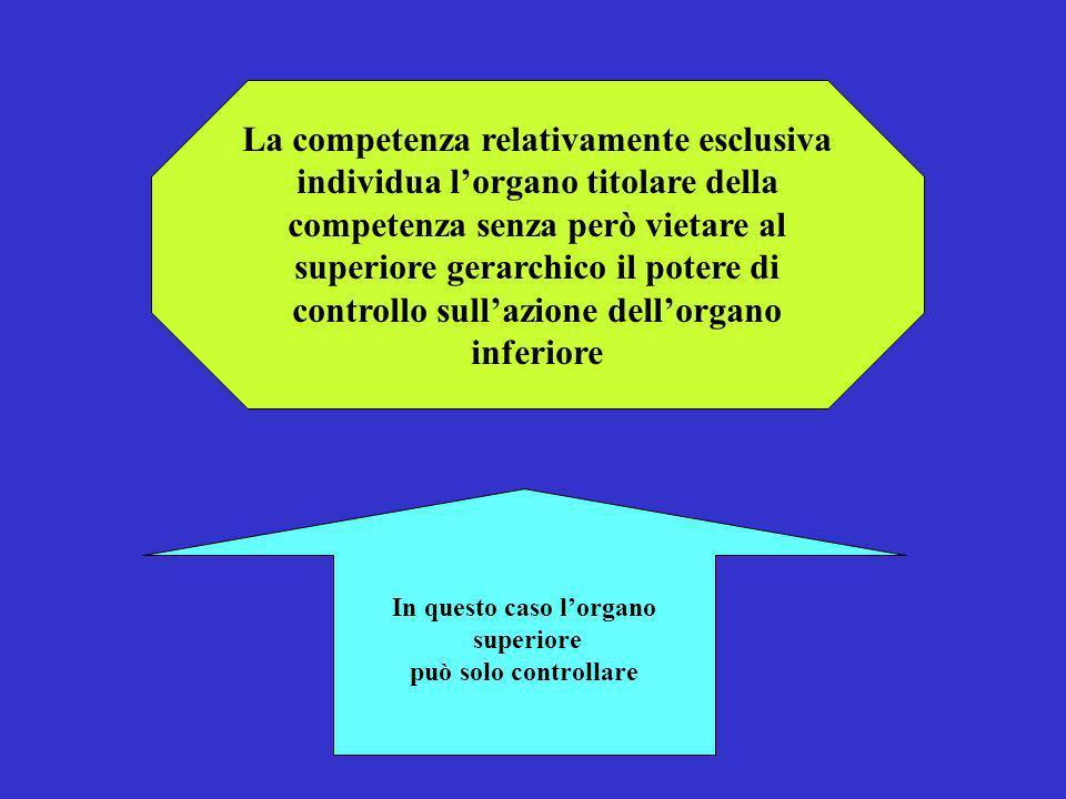 La competenza relativamente esclusiva individua lorgano titolare della competenza senza però vietare al superiore gerarchico il potere di controllo su