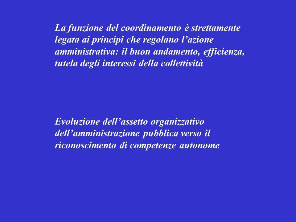 La funzione del coordinamento è strettamente legata ai principi che regolano lazione amministrativa: il buon andamento, efficienza, tutela degli inter