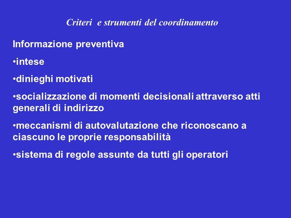 Criteri e strumenti del coordinamento Informazione preventiva intese dinieghi motivati socializzazione di momenti decisionali attraverso atti generali