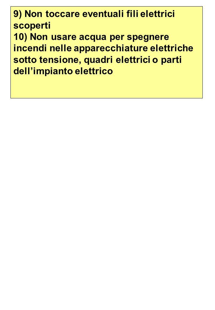 9) Non toccare eventuali fili elettrici scoperti 10) Non usare acqua per spegnere incendi nelle apparecchiature elettriche sotto tensione, quadri elet