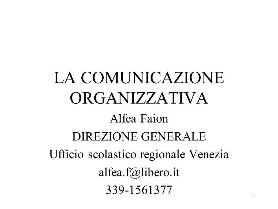1 LA COMUNICAZIONE ORGANIZZATIVA Alfea Faion DIREZIONE GENERALE Ufficio scolastico regionale Venezia alfea.f@libero.it 339-1561377