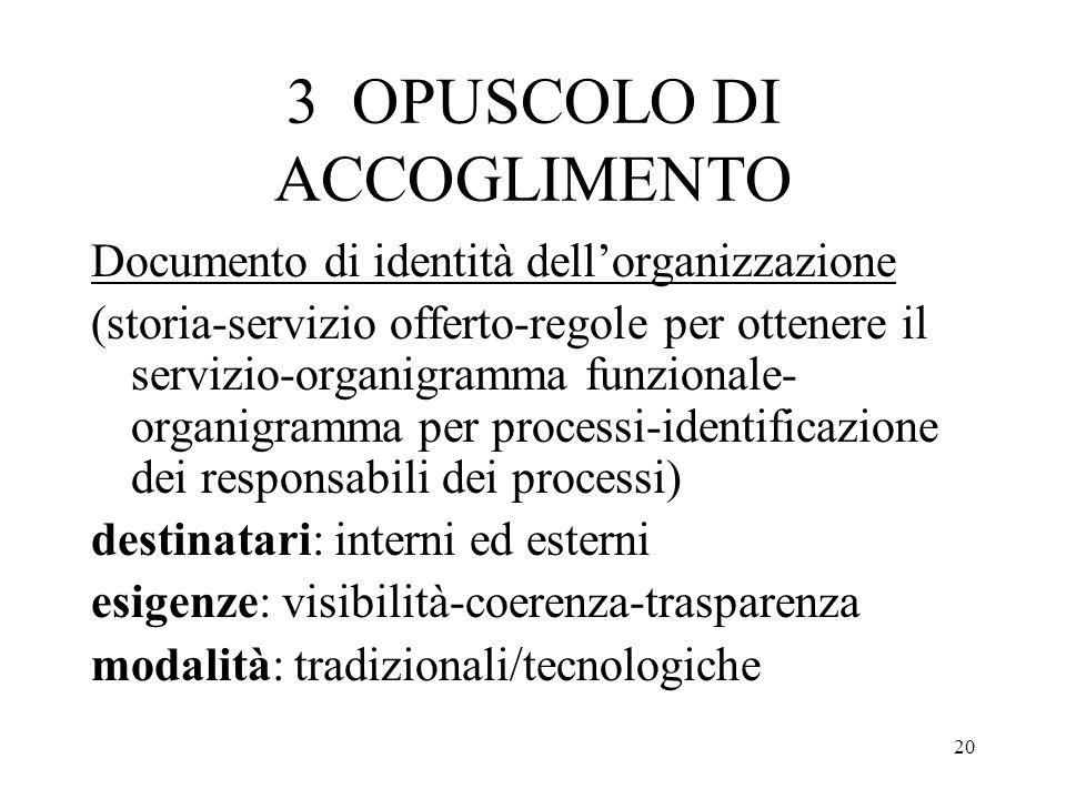 20 3 OPUSCOLO DI ACCOGLIMENTO Documento di identità dellorganizzazione (storia-servizio offerto-regole per ottenere il servizio-organigramma funzional