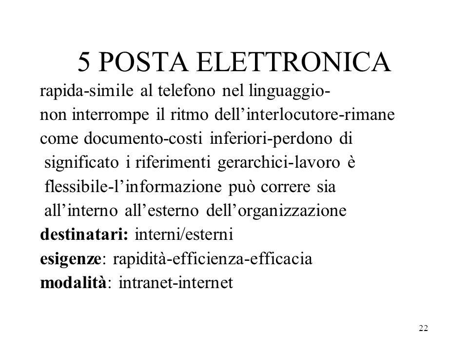 22 5 POSTA ELETTRONICA rapida-simile al telefono nel linguaggio- non interrompe il ritmo dellinterlocutore-rimane come documento-costi inferiori-perdo
