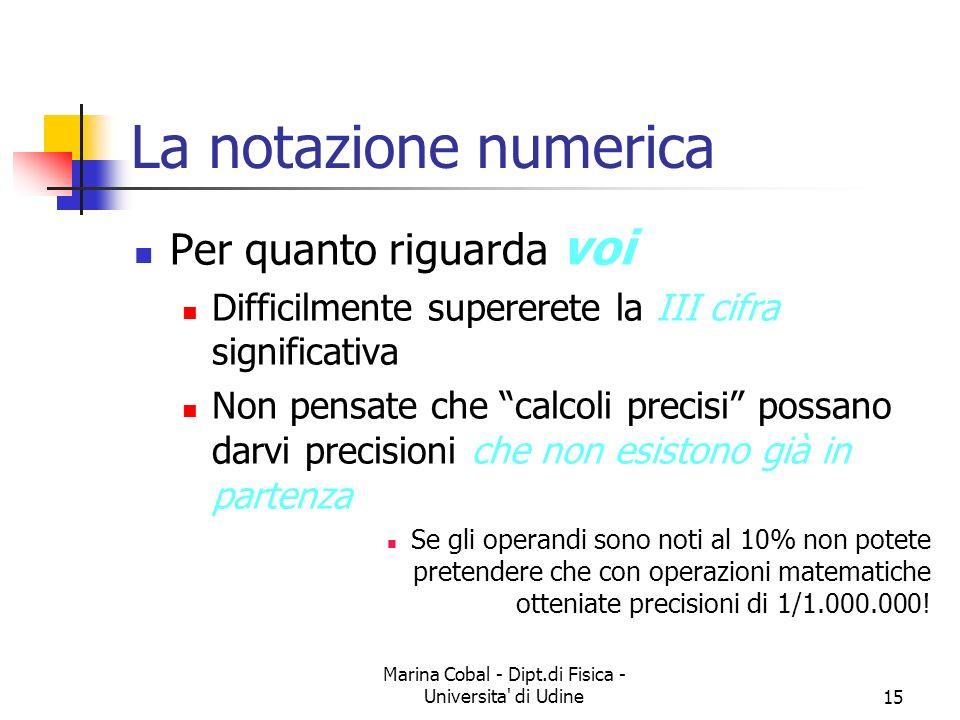 Marina Cobal - Dipt.di Fisica - Universita' di Udine15 La notazione numerica Per quanto riguarda voi Difficilmente supererete la III cifra significati