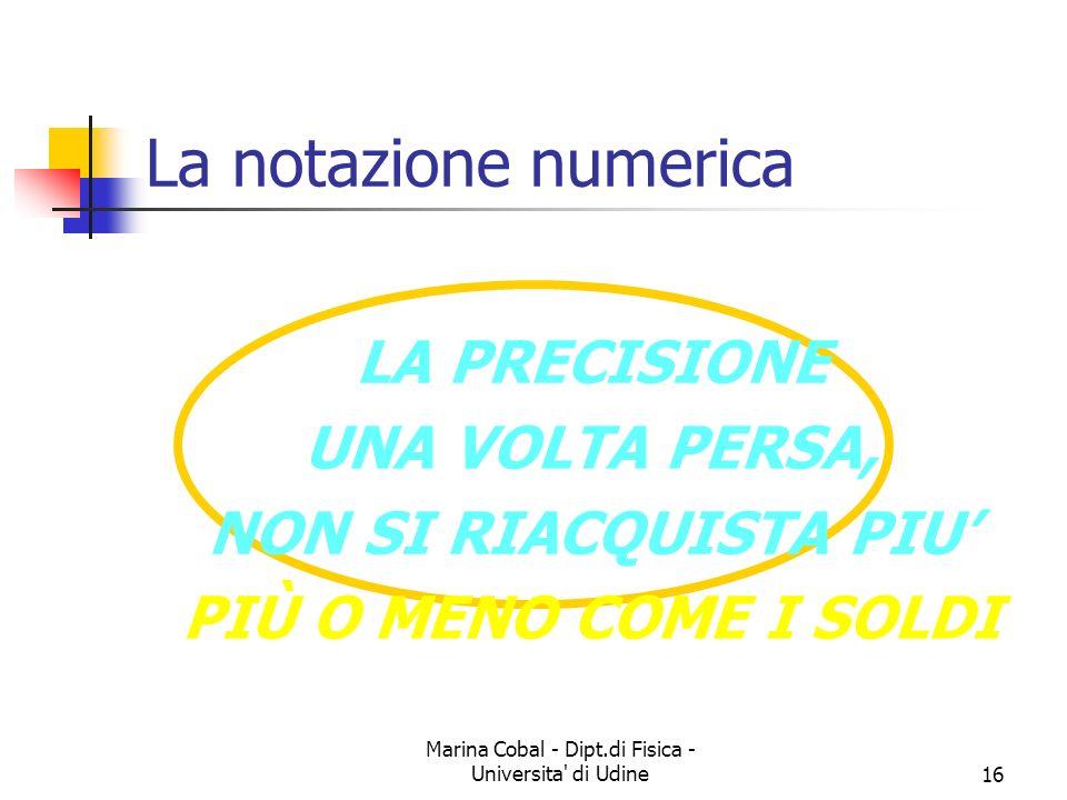 Marina Cobal - Dipt.di Fisica - Universita' di Udine16 La notazione numerica LA PRECISIONE UNA VOLTA PERSA, NON SI RIACQUISTA PIU PIÙ O MENO COME I SO