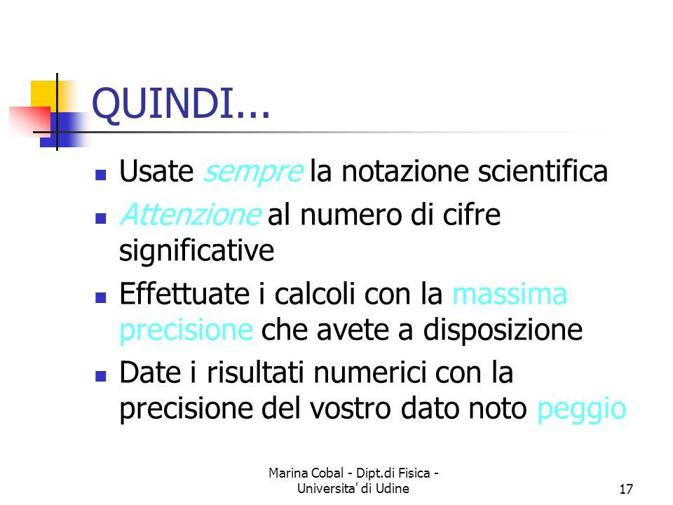 Marina Cobal - Dipt.di Fisica - Universita' di Udine17 QUINDI... Usate sempre la notazione scientifica Attenzione al numero di cifre significative Eff