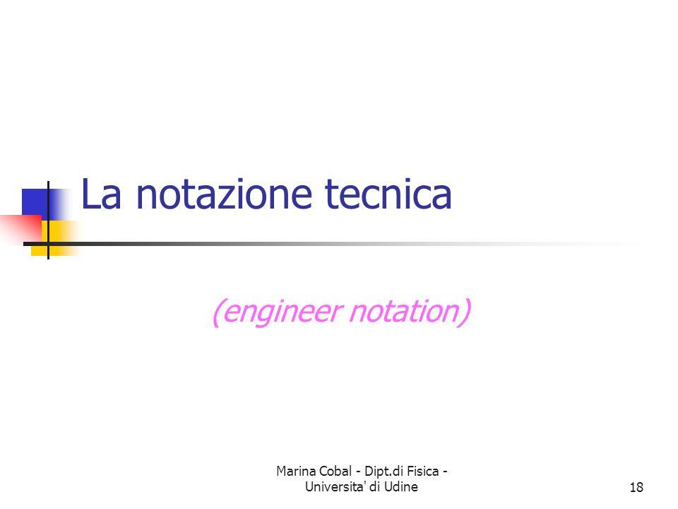 Marina Cobal - Dipt.di Fisica - Universita' di Udine18 La notazione tecnica (engineer notation)