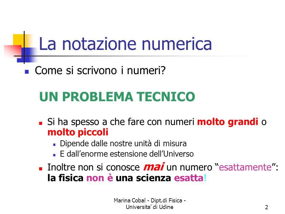 Marina Cobal - Dipt.di Fisica - Universita' di Udine2 La notazione numerica Come si scrivono i numeri? UN PROBLEMA TECNICO Si ha spesso a che fare con